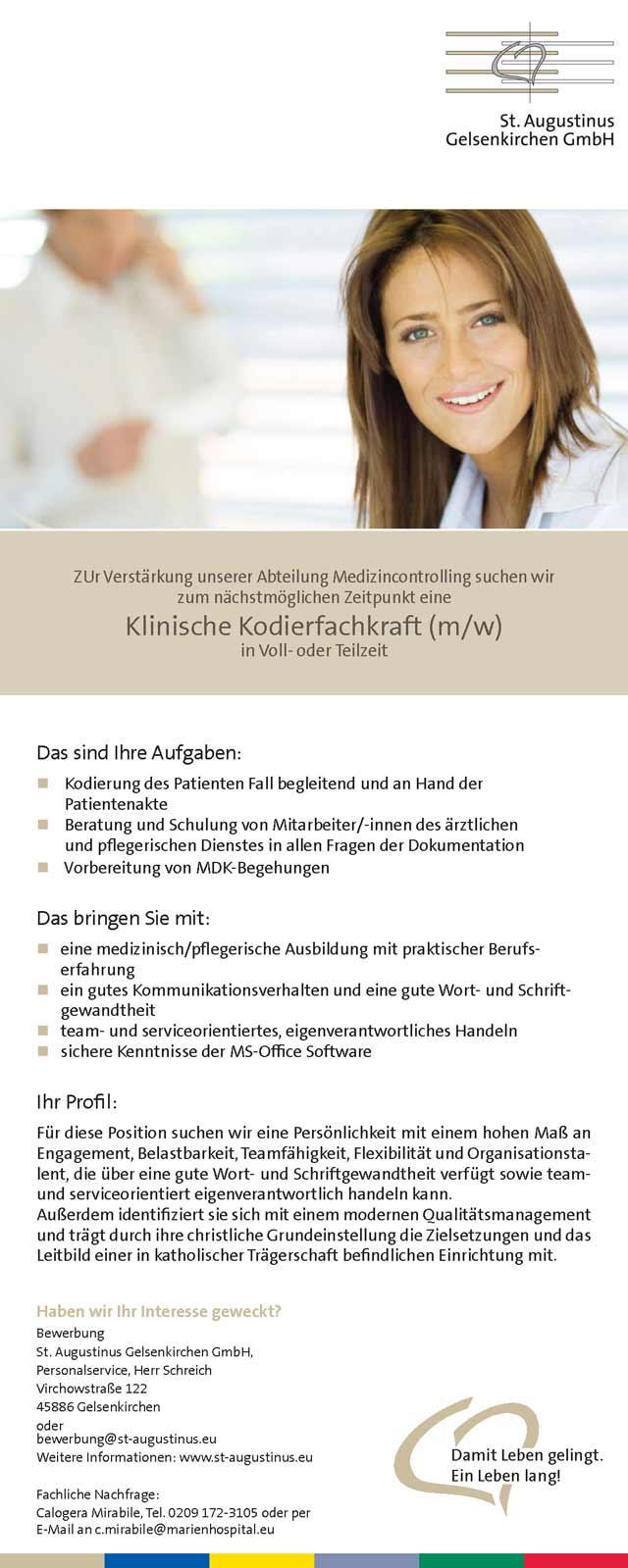 St. Augustinus Gelsenkirchen GmbH: Klinische Kodierfachkraft (m/w)