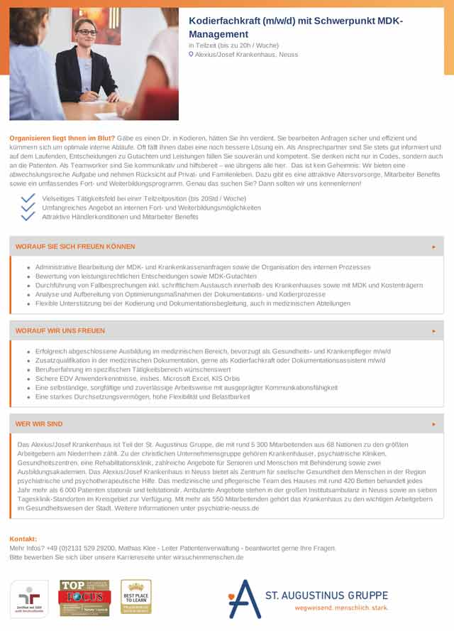 Alexius Josef Krankenhaus Neuss: Kodierfachkraft MDK-Management (m/w/d)