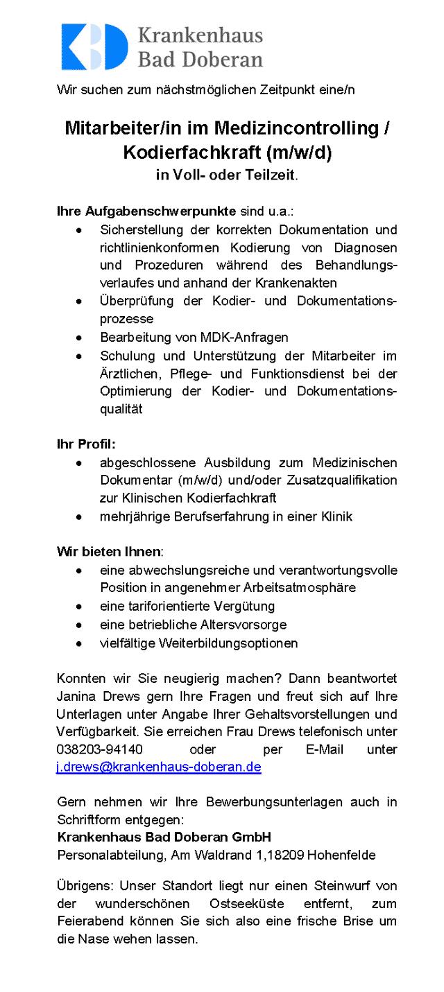 Krankenhaus Bad Doberan: Mitarbeiter Medizincontrolling / Kodierfachkraft (m/w/d)