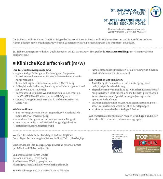 St. Barbara-Klinik Hamm GmbH: Klinische Kodierfachkraft (m/w)