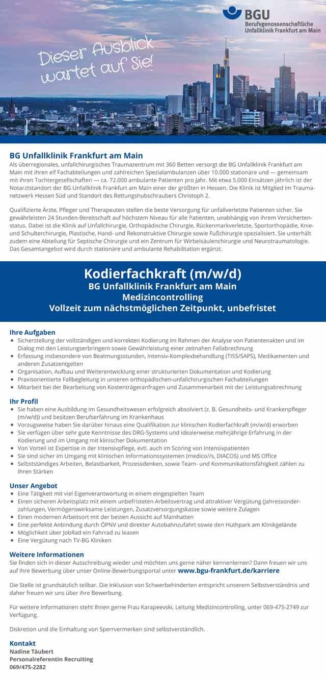 BG Unfallklinik Frankfurt am Main: Kodierfachkraft (m/w/d)