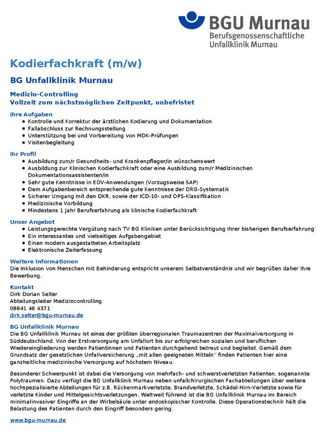 BG Unfallklinik Murnau: Kodierfachkraft (m/w)