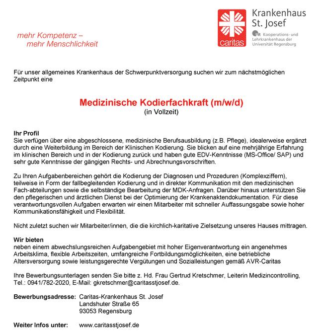 Caritas-Krankenhaus St. Josef Regensburg: Medizinische Kodierfachkraft (m/w/d)