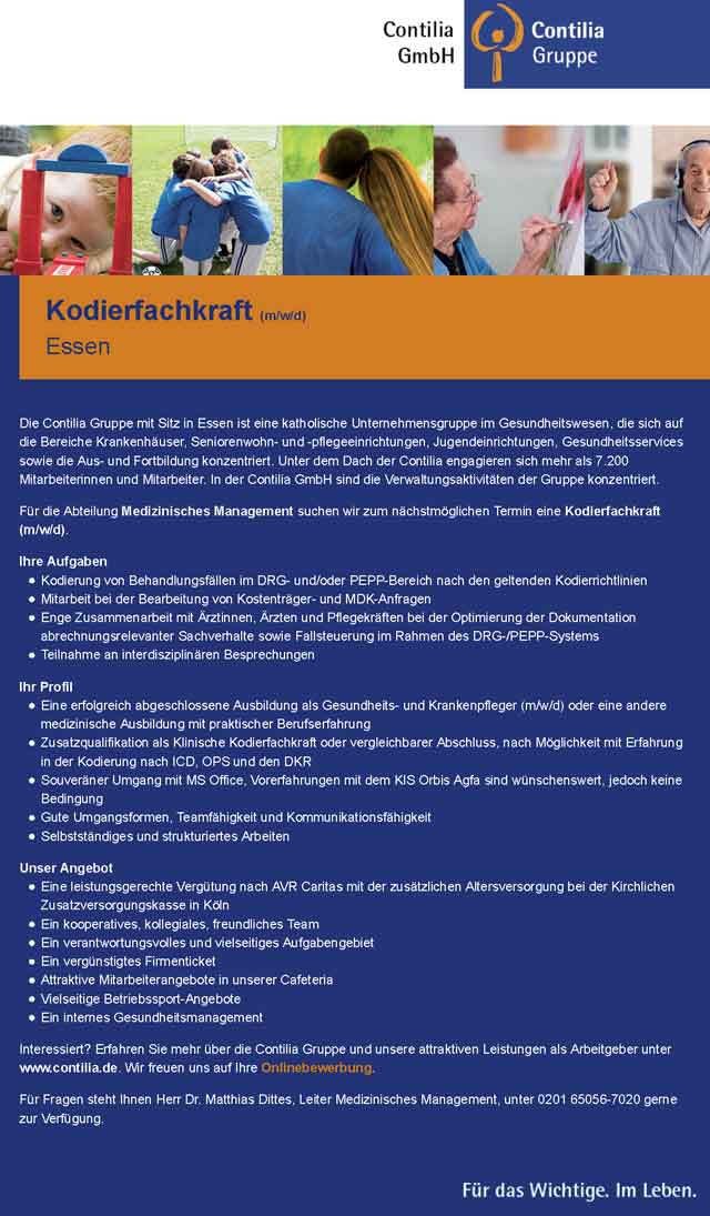 Contilia GmbH Essen: Kodierfachkraft (m/w/d)
