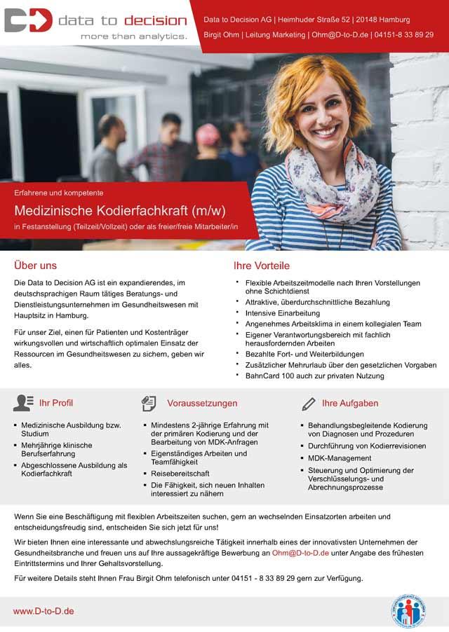 Data to Decision AG, Hamburg: Medizinische Kodierfachkraft (m/w)