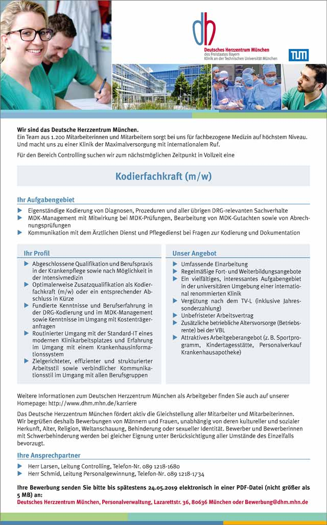 Deutsches Herzzentrum München: Kodierfachkraft (m/w/d)