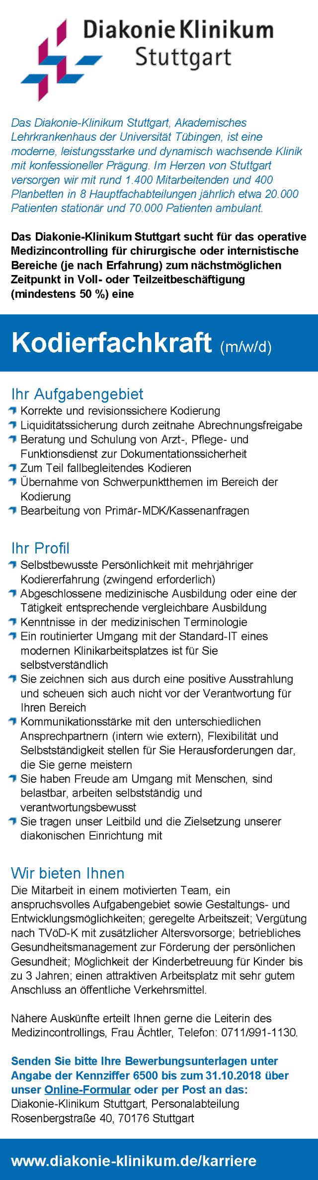 Diakonie-Klinikum Stuttgart: Kodierfachkraft (m/w/d)