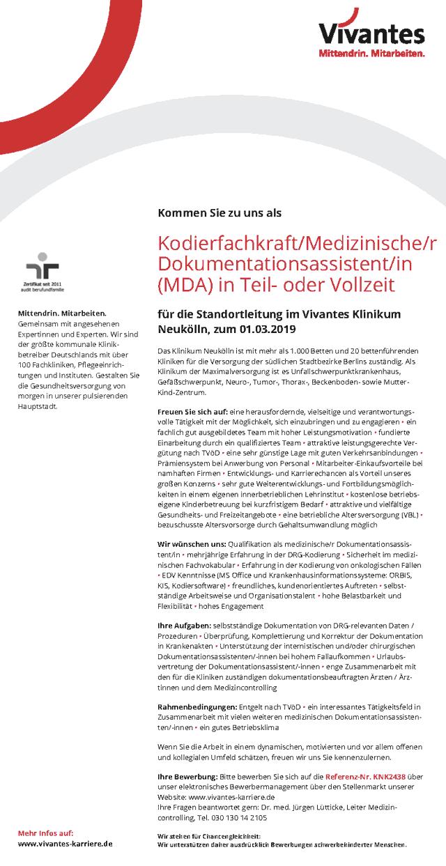 Vivantes Klinikum Neukölln: Kodierfachkraft / Med. Dokumentationsassistent MDA (w/m)