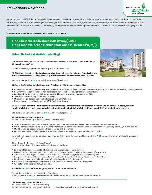 Krankenhaus Waldfriede Berlin Zehlendorf: Klinische Kodierfachkraft / Med. Dokumentationsassistent (w/m/i)