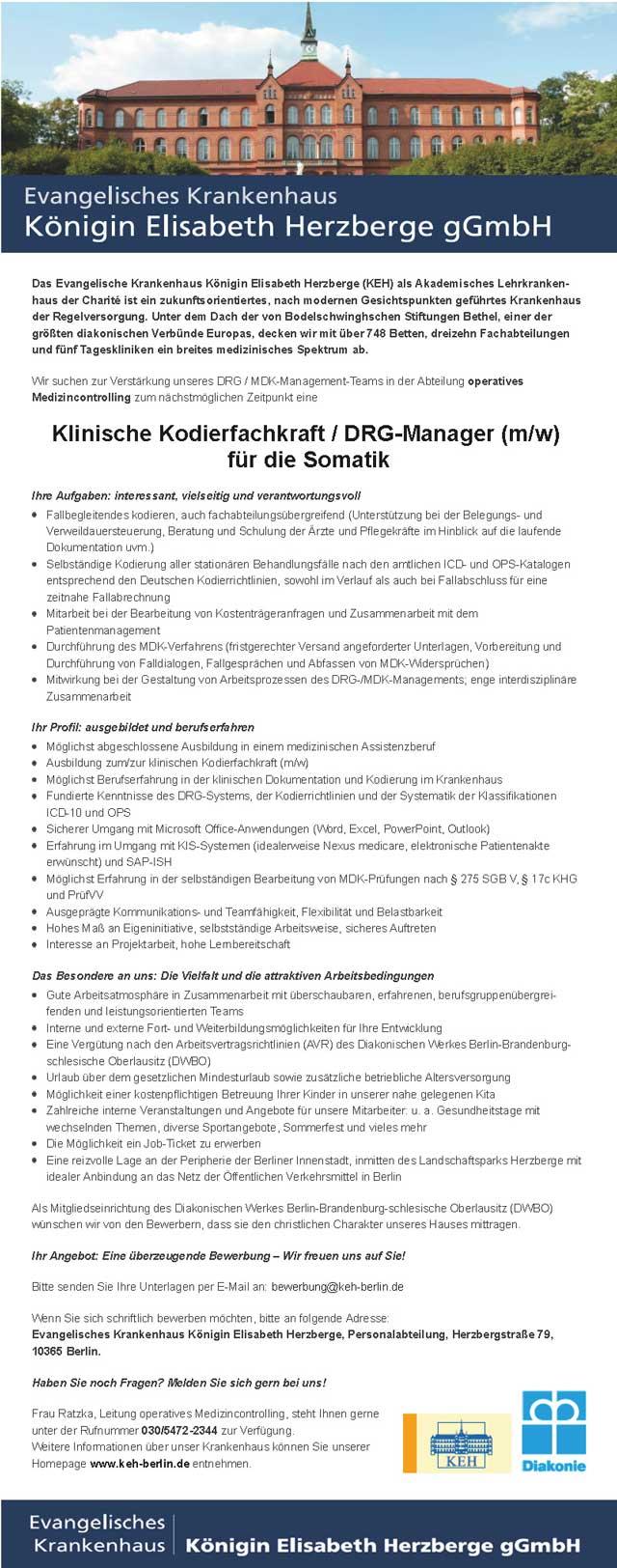 Evangelisches Krankenhaus Königin Elisabeth Herzberge Berlin: Klinische Kodierfachkraft / DRG-Manager (m/w)