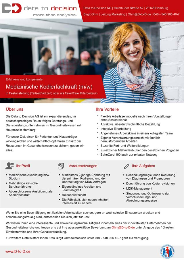 Data to Decision AG, Hamburg: Medizinische Kodierfachkraft (m/w/d)