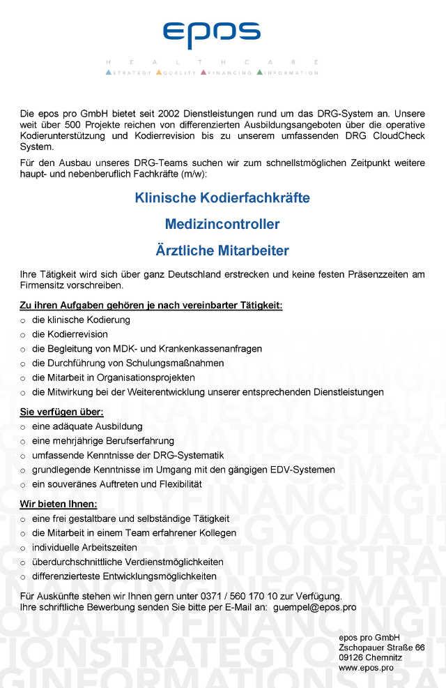 epos pro GmbH, Chemnitz: Klinische Kodierfachkräfte, Medizincontroller, Ärztliche Mitarbeiter (m/w)