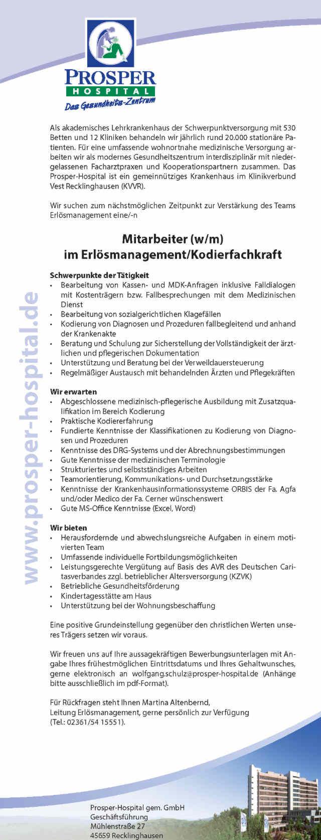 Prosper-Hospital Recklinghausen gGmbH: Mitarbeiter im Erlüsmanagement / Kodierfachkraft (w/m)