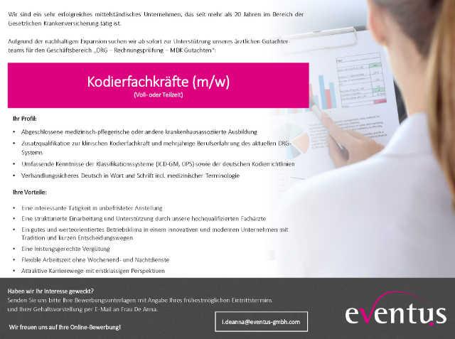 eventus GmbH, München: Kodierfachkräfte (m/w)