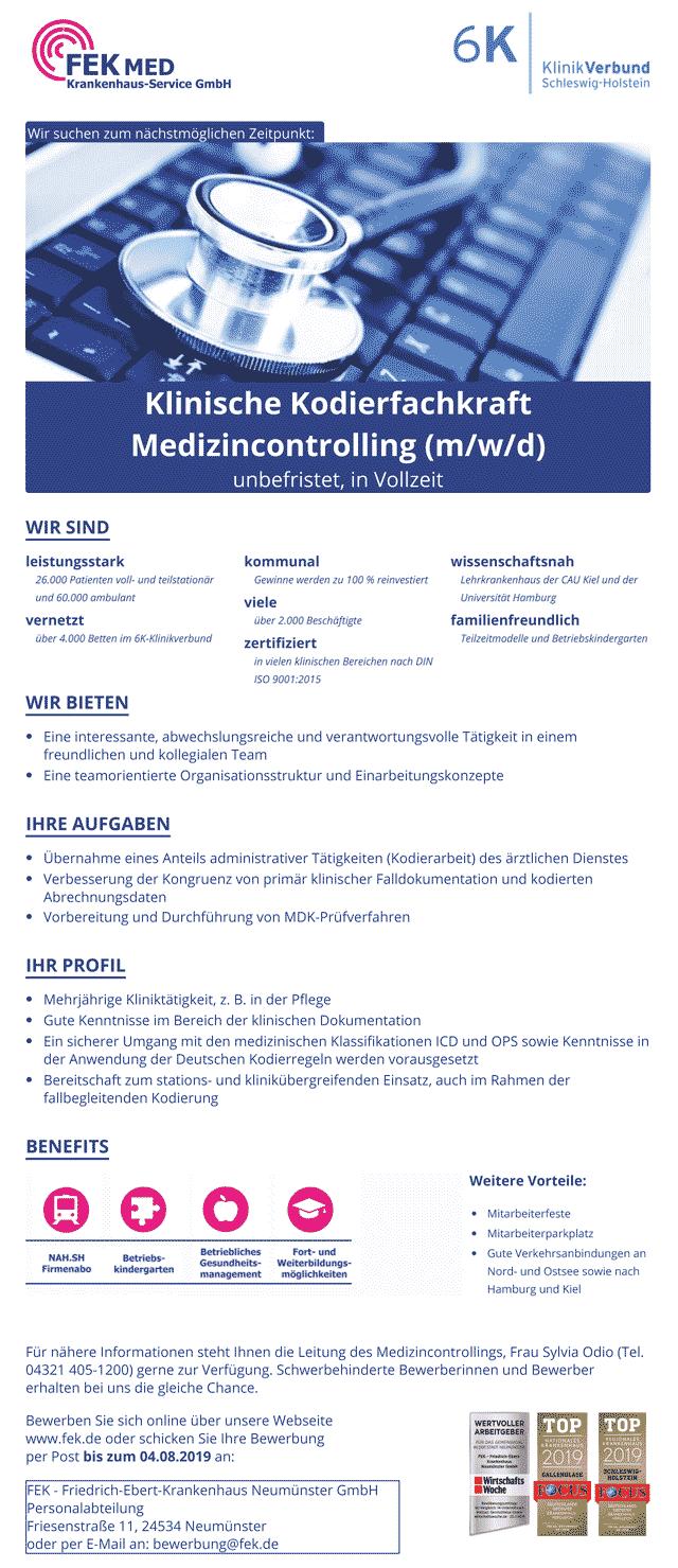 FEK Friedrich-Ebert-Krankenhaus Neumünster GmbH: Klinische Kodierfachkraft (m/w/d)