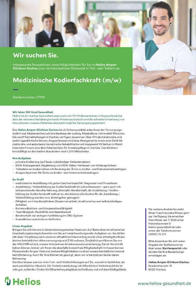 Helios Amper-Klinikum Dachau: Medizinische Kodierfachkraft (m/w)