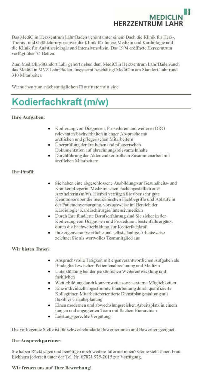 MediClin Herzzentrum Lahr/Baden: Kodierfachkraft (m/w)