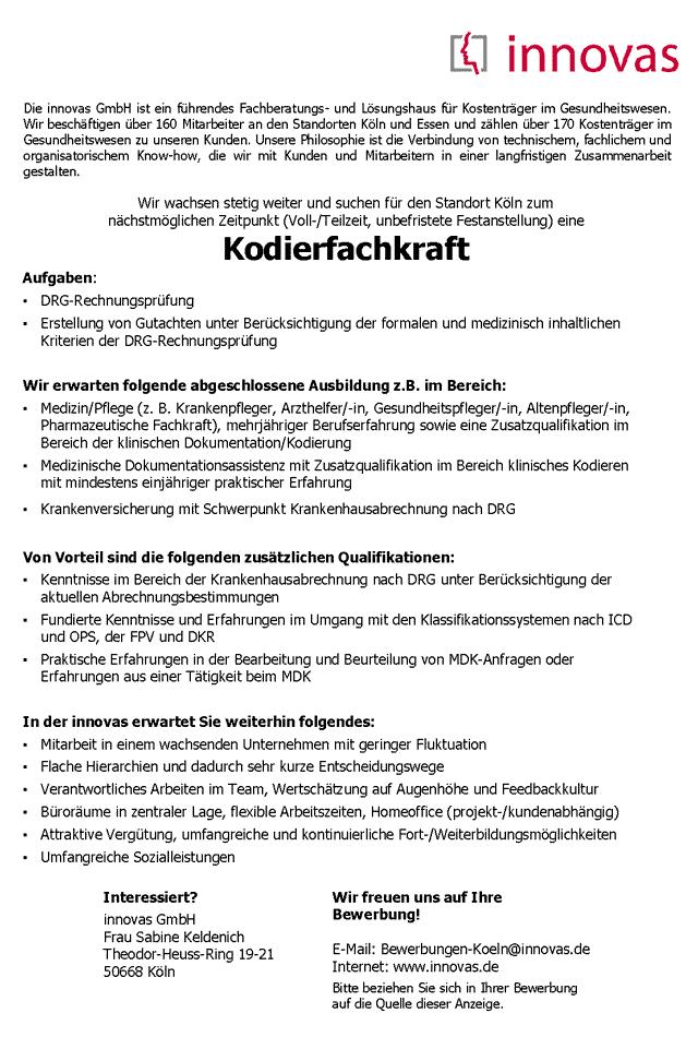 innovas GmbH, Köln: Kodierfachkraft (m/w)