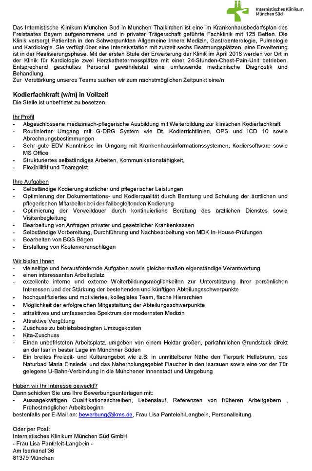 Internistisches Klinikum München Süd: Kodierfachkraft (w/m)