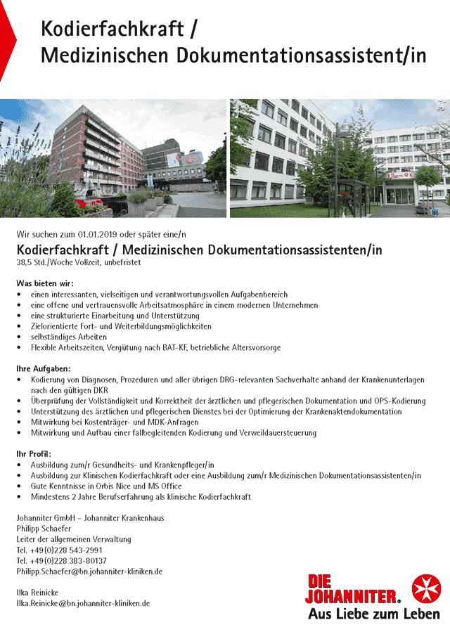 Johanniter Krankenhaus Bonn: Kodierfachkraft / Medizinischer Dokumentationsassistent (w/m)