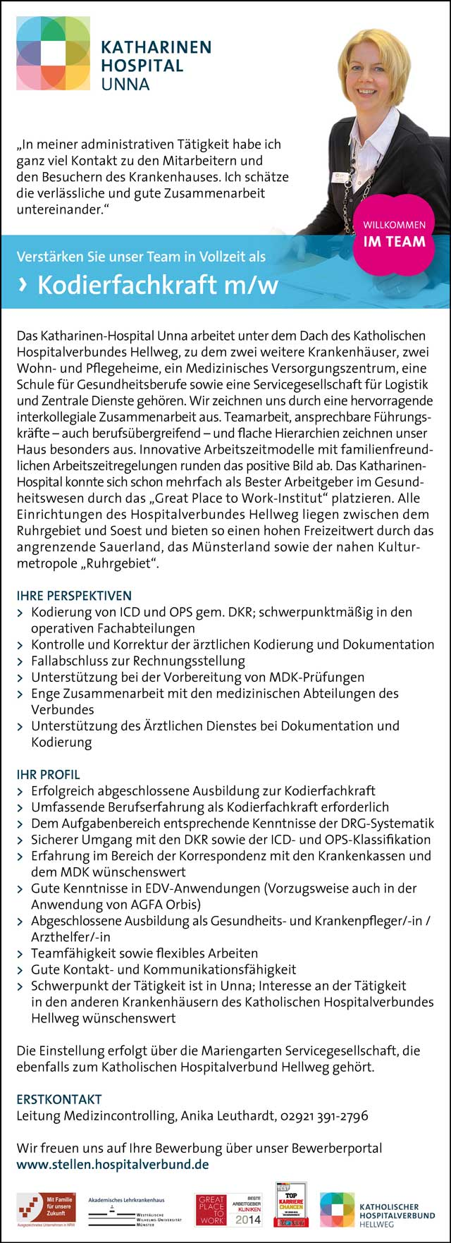 Katharinen Hospital Unna: Kodierfachkraft (m/w)