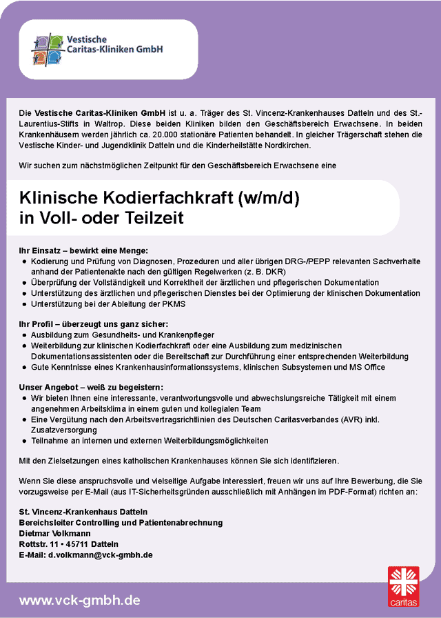 Vestische Caritas-Kliniken GmbH, Datteln: Klinische Kodierfachkraft (w/m/d)