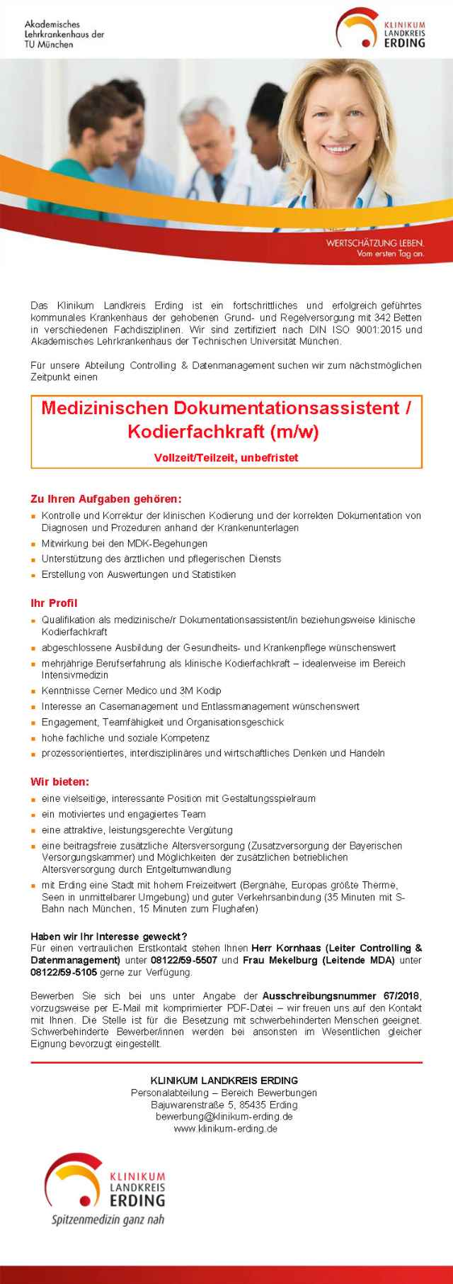 Das Klinikum Landkreis Erding: Med. Dokumentationsassistent / Kodierfachkraft (m/w)