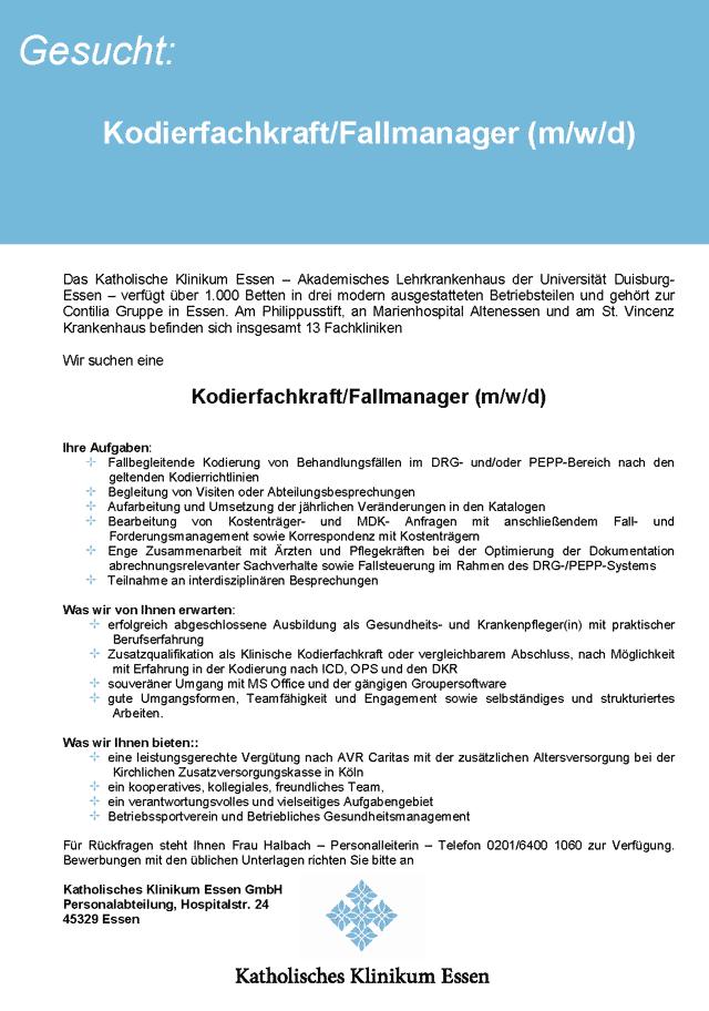 Katholisches Klinikum Essen GmbH: Kodierfachkraft / Fallmanager (m/w/d)
