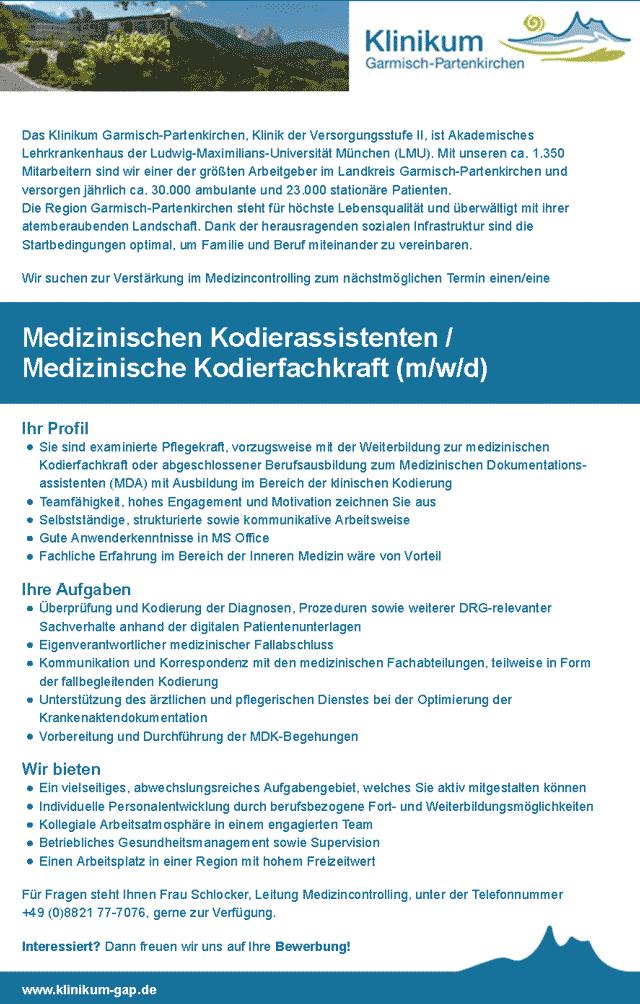 Klinikum Garmisch-Partenkirchen: Medizinische/r Kodierassistent / Kodierfachkraft (m/w/d)