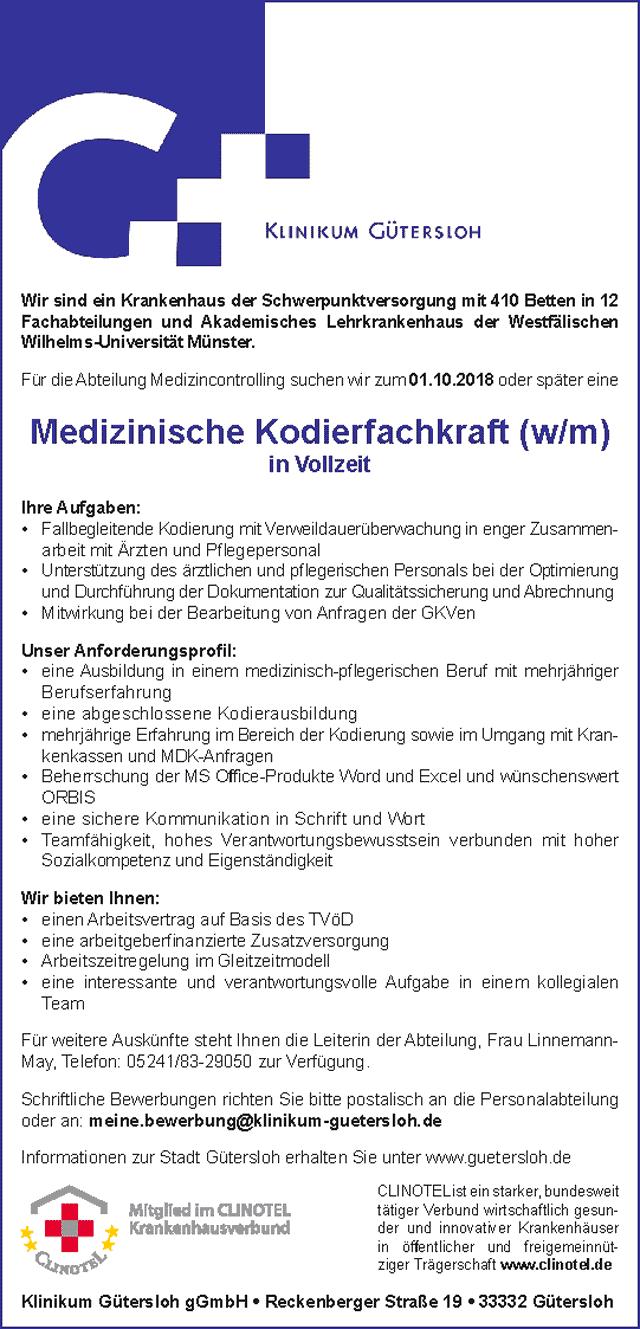 Klinikum Gütersloh: Medizinische Kodierfachkraft (w/m)