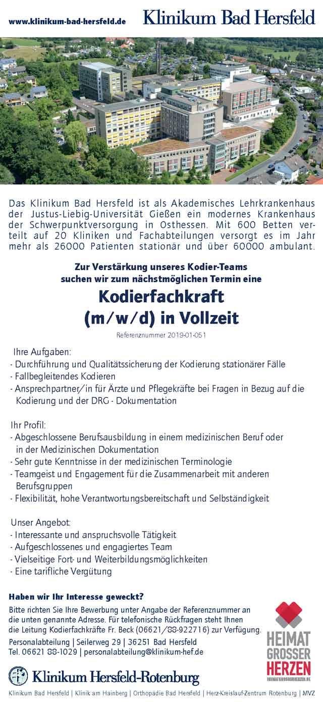 Klinikum Bad Hersfeld: Kodierfachkraft (m/w/d)