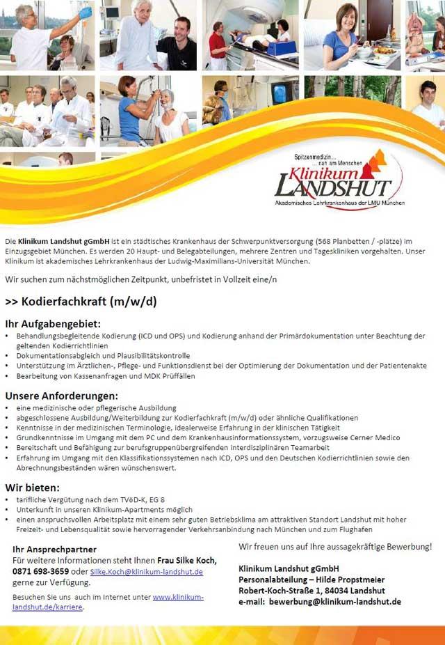 Klinikum Landshut gGmbH: Kodierfachkraft (m/w/d)