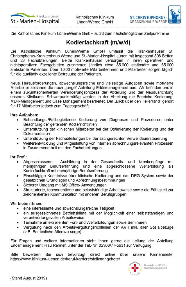 Katholisches Klinikum Lünen: Kodierfachkraft (m/w/d)