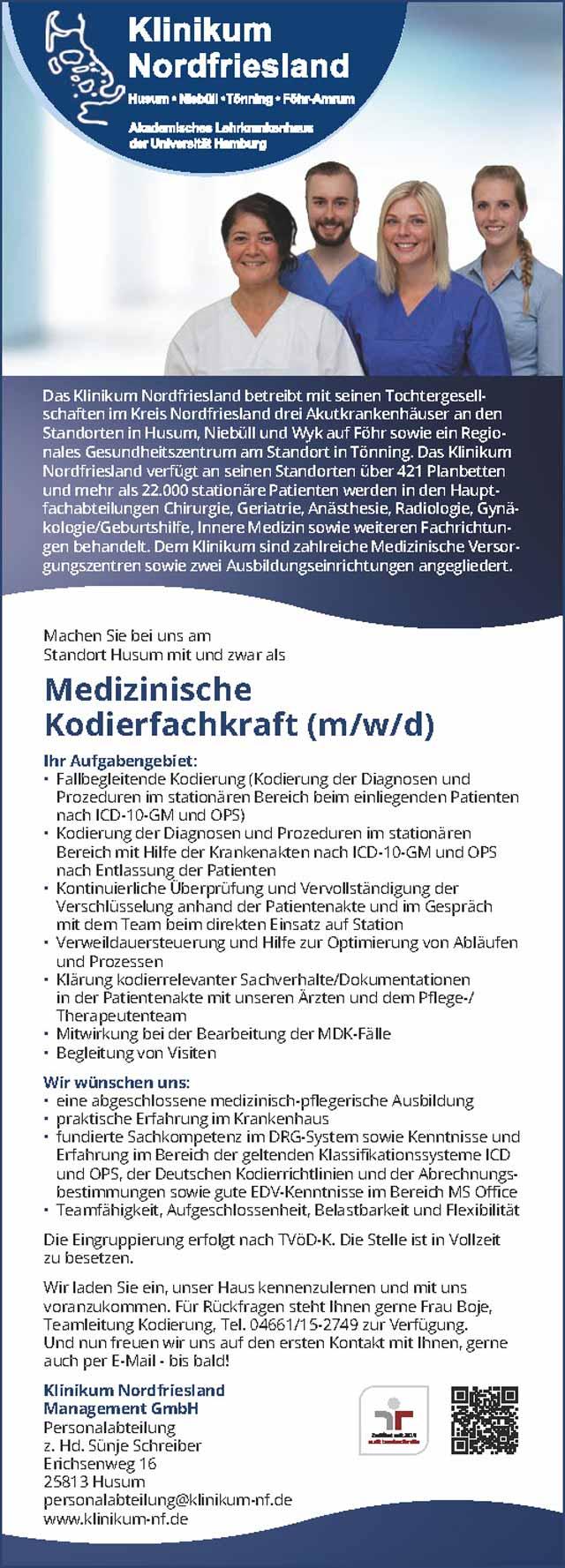 Klinikum Nordfriesland gGmbH, Husum: Medizinische Kodierfachkraft (m/w/d)