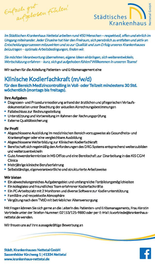Städt. Krankenhaus Nettetal GmbH: Klinische Kodierfachkraft (m/w/d)