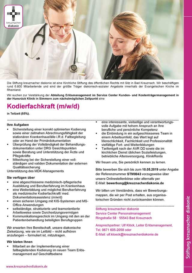 Stiftung kreuznacher diakonie: Kodierfachkraft (m/w/d)
