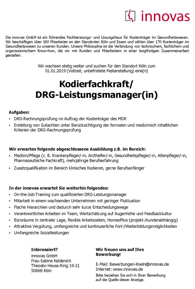 innovas GmbH, Köln: Kodierfachkraft / DRG-Leistungsmanager (m/w)