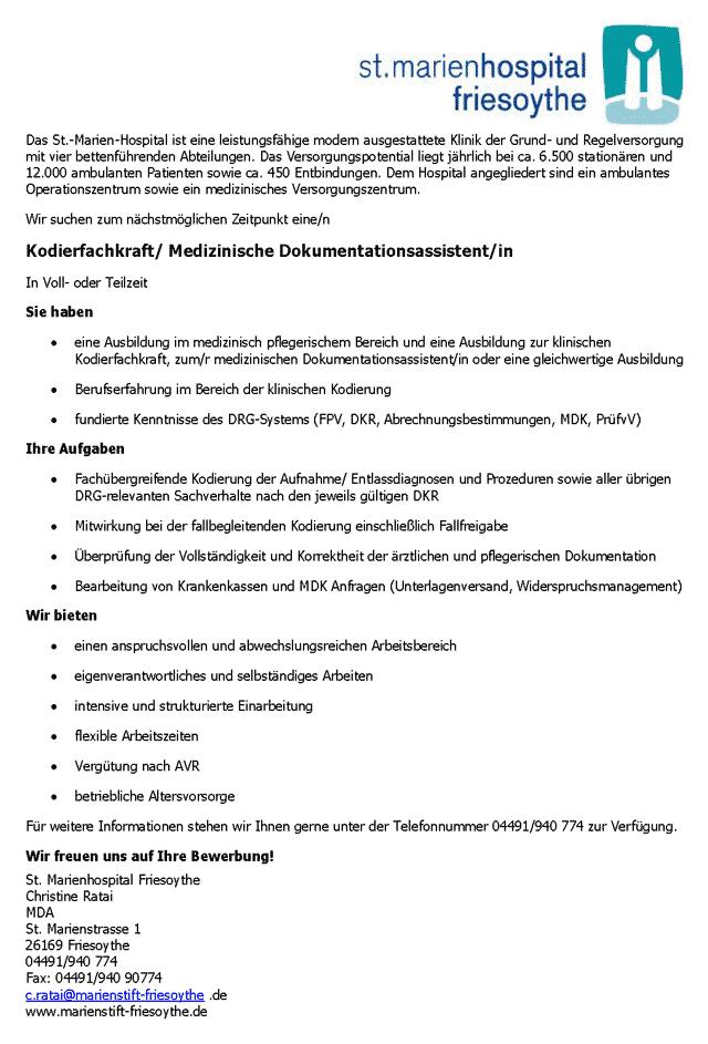 St. Marienhospital Friesoythe: Kodierfachkraft / Medizinischer Dokumentationsassistent (m/w/d)