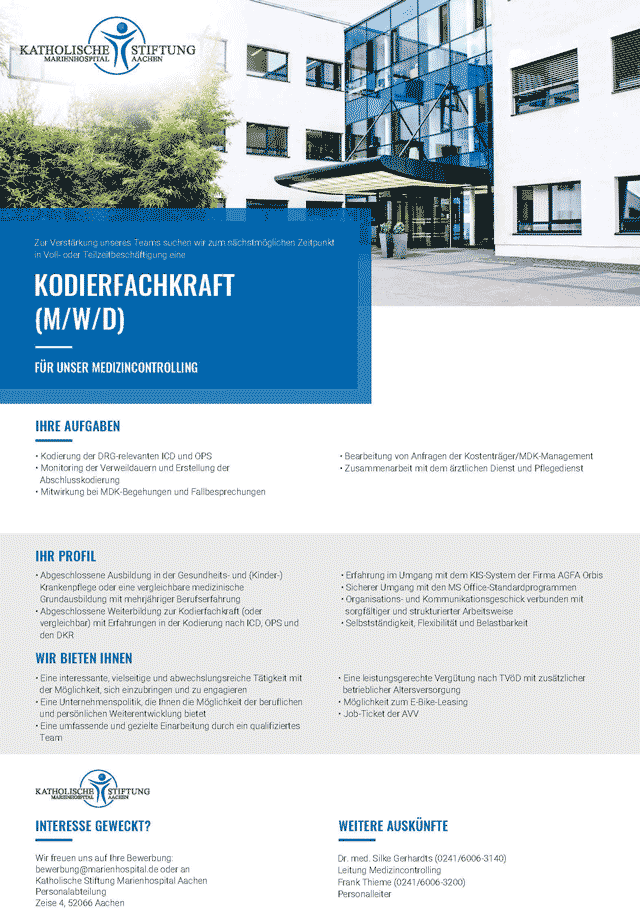 Marienhospital Aachen: Kodierfachkraft (m/w/d)