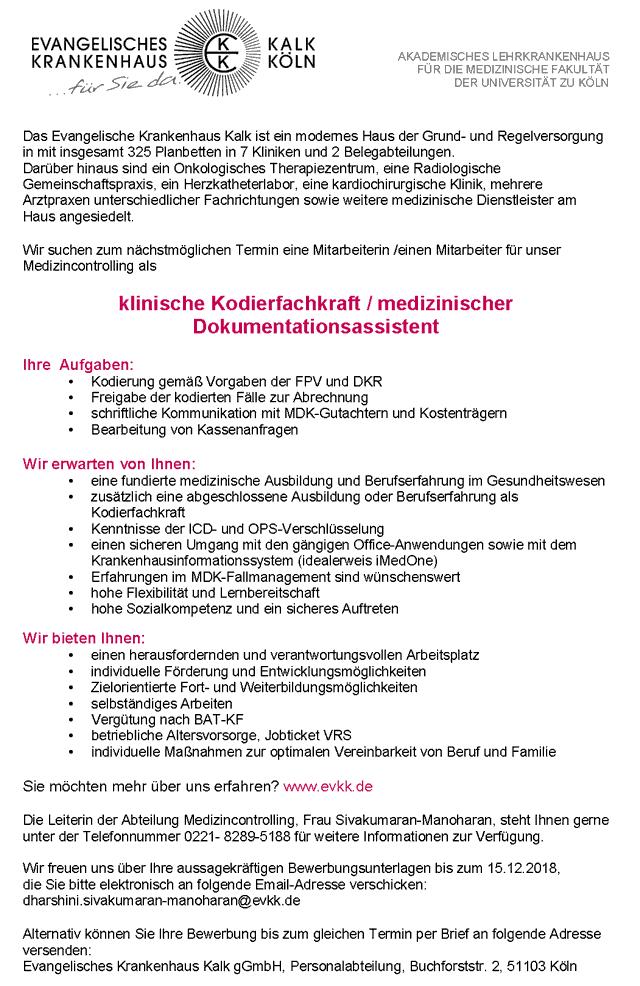 Evangelisches Krankenhaus Kalk gGmbH Köln: Klinische Kodierfachkraft / medizinischer Dokumentationsassistent (m/w)