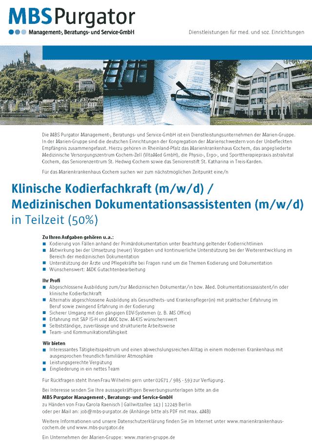 MBS Purgator GmbH: Klinische Kodierfachkraft / Medizinischer Dokumentationsassistent (m/w/d)