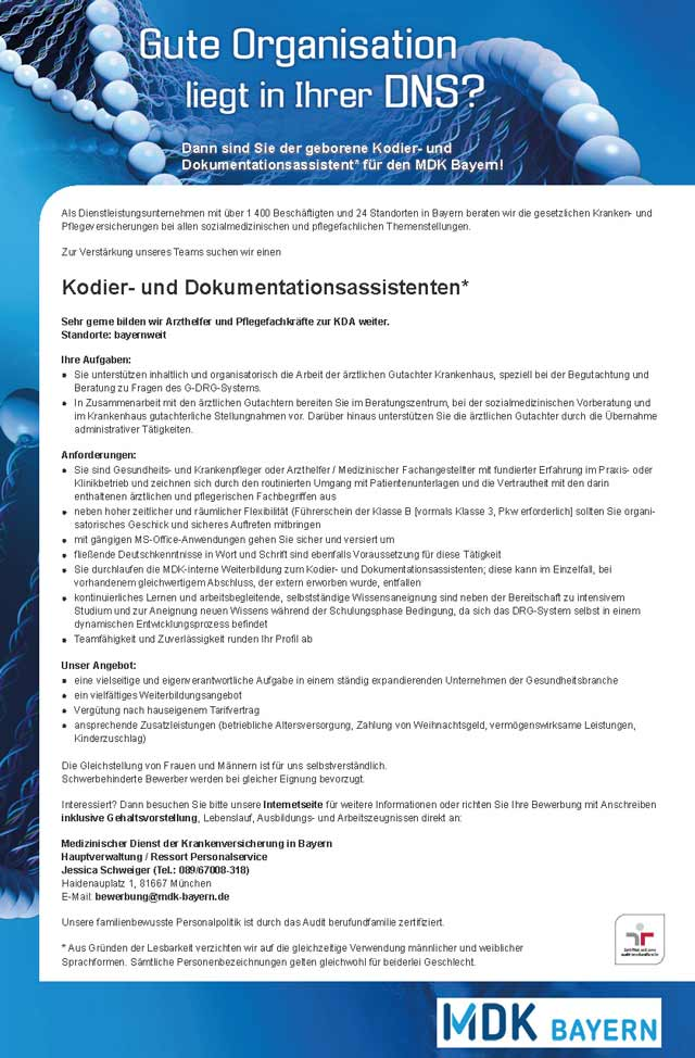 MDK Bayern, München: Kodier- und Dokumentationsassistent (w/m)