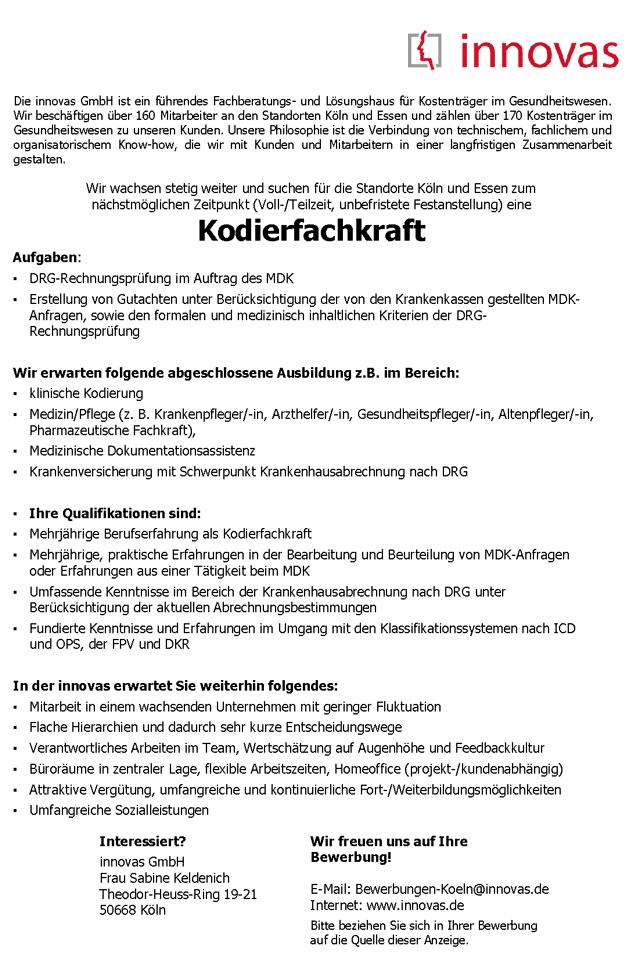 innovas GmbH, Köln: Kodierfachkraft MDK (m/w/d)