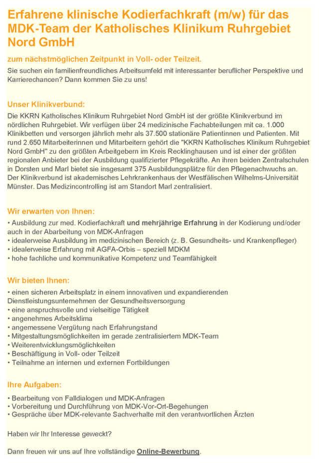Katholisches Klinikum Ruhrgebiet Nord GmbH, Marl: Klinische Kodierfachkraft MDK-Team (m/w)