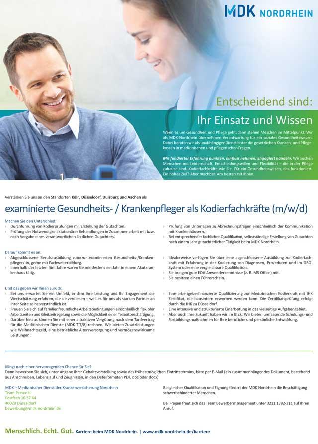 Medizinischer Dienst der Krankenversicherung Nordrhein, Düsseldorf: Kodierfachkräfte (m/w/d)