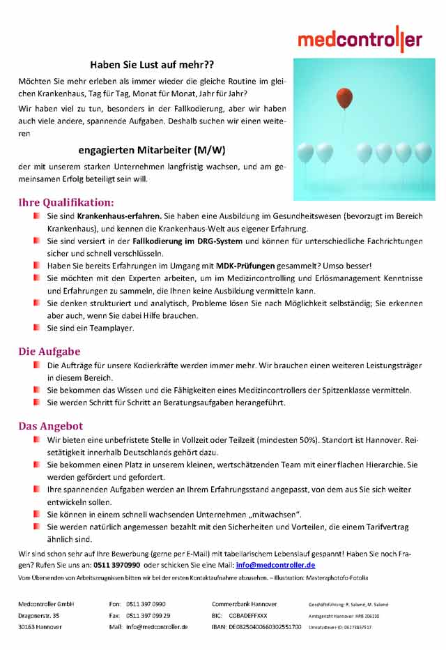Medcontroller GmbH Hannover: Mitarbeiter (m/w/d)