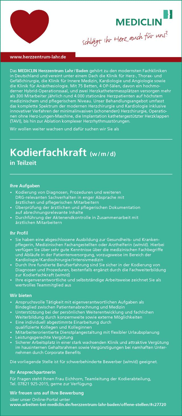 MEDICLIN Herzzentrum Lahr / Baden: Kodierfachkraft (w/m/d)