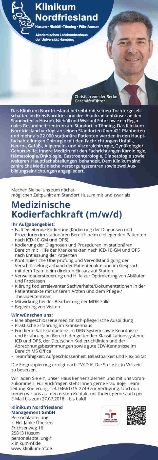 Klinikum Nordfriesland, Husum: Medizinische Kodierfachkraft (m/w/d)