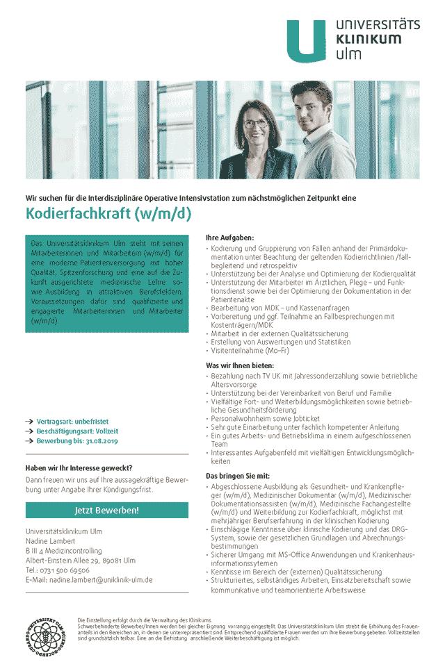 Universitätsklinikum Ulm: Kodierfachkraft (w/m/d)
