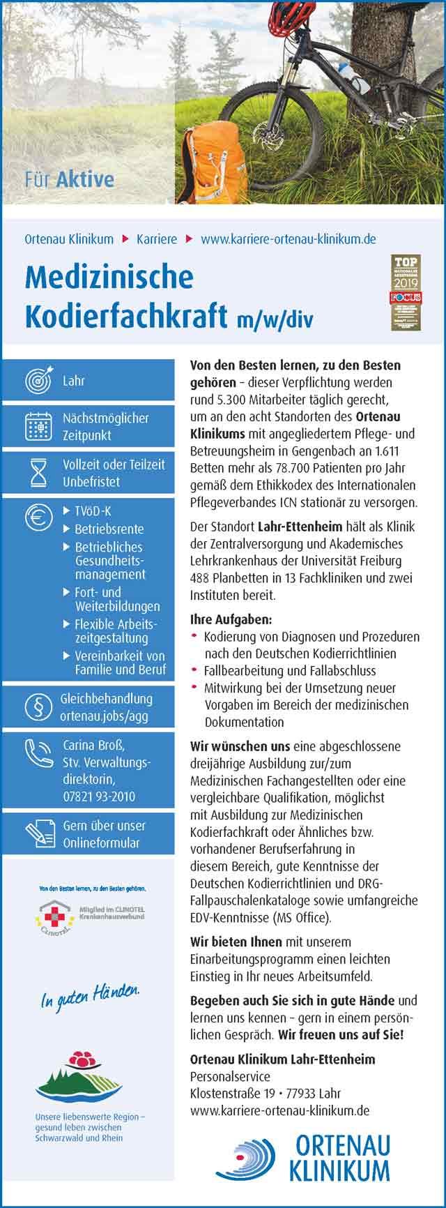 Ortenau Klinikum Lahr-Ettenheim: Medizinische Kodierfachkraft (m/w/d)